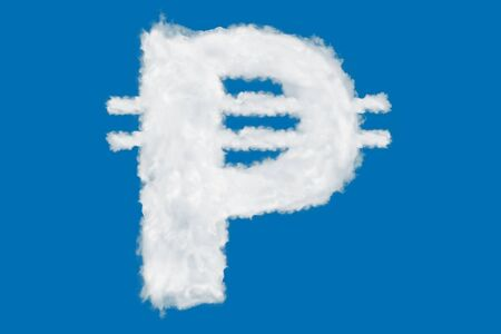 Philippian peso currency sign element made of clouds on blue background over sky