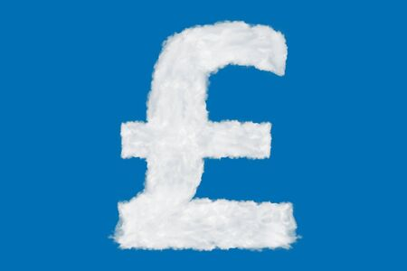 United Kingdom pound sterling currency sign element made of clouds on blue background over sky Stock Photo