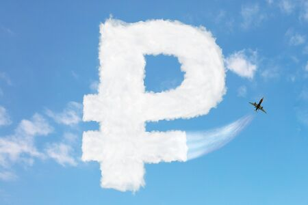 Russian ruble currency buy price growth and volatility concept with sign element made of clouds, jet plane pull cloud up