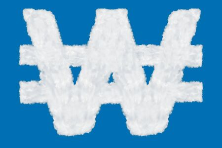 South Korean won currency sign element made of clouds on blue background over sky