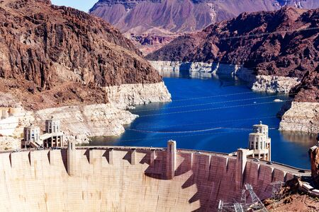 Hoover Boulder Dam constructed in the Black Canyon of the Colorado river on Nevada Arizona border from Mike OCallaghan Pat Tillman Memorial Bridge Stock Photo