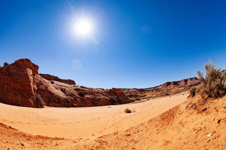 Zebra spot canyon in Utah national park - dry river bed during hot sunny weather