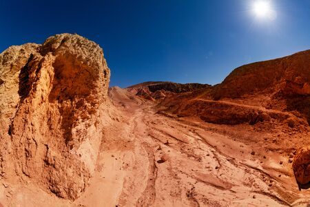 Dry river bank rock formations near the Zebra spot Canyon in Utah national park, USA