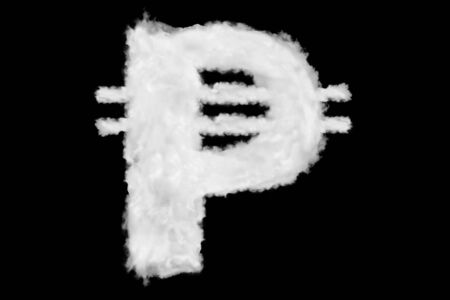 Peso Philippian currency sign element made of clouds on black background ready for mask or blending modes