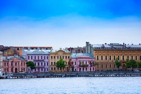 English embarkment of Neva river in Saint Petersburg, Russia Stock Photo