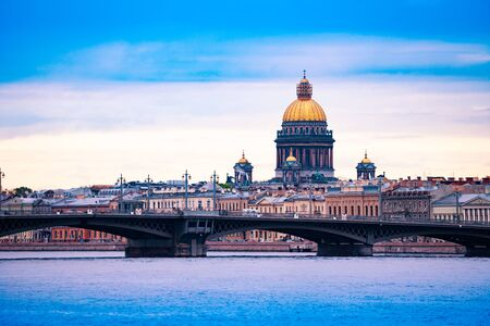 St. Isaacs Cathedral over Neva river Blagoveshchenskiy Bridge, Saint Petersburg, Russia