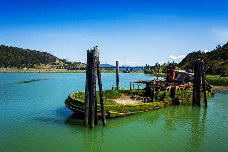 Mary D. Hume steamer sank boat, Rogue River Port of Gold Beach, Oregon 写真素材