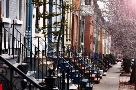 Close up of many beautiful types of staircase of typical Albany houses on Lancaster street, NY, USA Foto de archivo