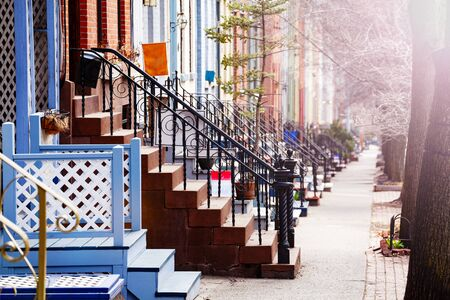 Close up of many different staircases of typical Albany houses on Lancaster street, NY, USA