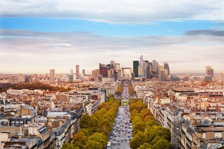 Wide panorama of la Defense Paris city district and suburbs from arc de Triumph