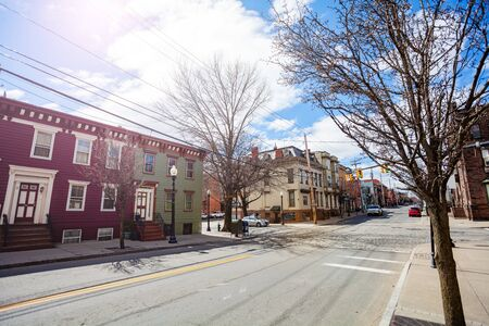 Street view in Albany downtown at spring with small houses, NY, USA