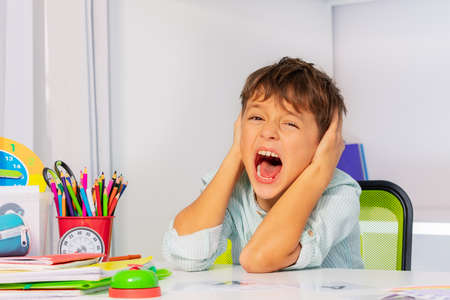 Screaming sad boy with autistic disorder cover ears and scream during development therapy class lesson