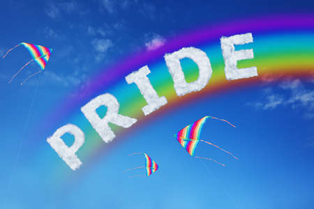 Pride sign made of clouds letters and colorful kite over blue sky with rainbow