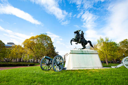 Lafayette Square Park with statues and a long history near White House in Washington