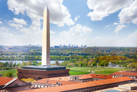 National mall Washington Monument obelisk over Arlington and Potomac river view from above