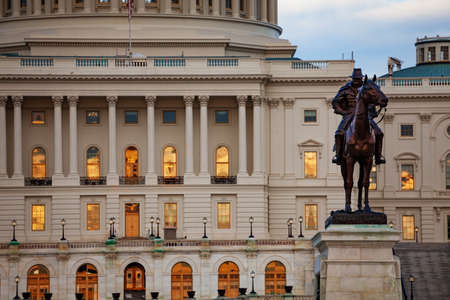 Ulysses S. Grant Memorial statue over columns of US Capitol Congress building on National Mall in Washington DC Reklamní fotografie