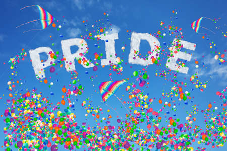Pride sign made of clouds and rainbow kite over air balloons