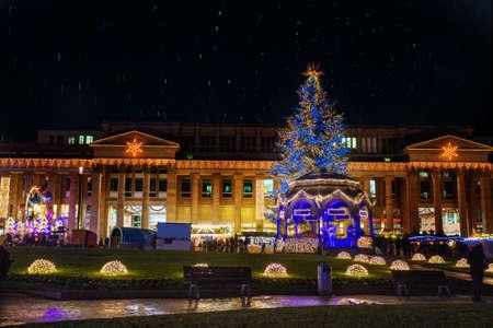 Christmas tree on Schlossplatz square. Stuttgart with New year decorations, Germany