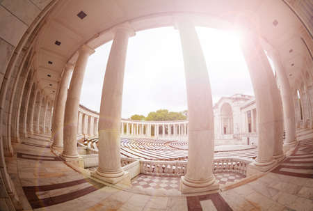 Columns and benches of Arlington Memorial Amphitheater at National Cemetery, Virginia