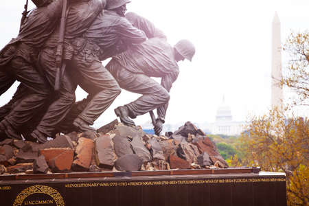 WASHINGTON, DC USA- April 28, 2018: Close photo of Iwo Jima Memorial in Washington, DC. Memorial honors the Marines who have died defending the US.