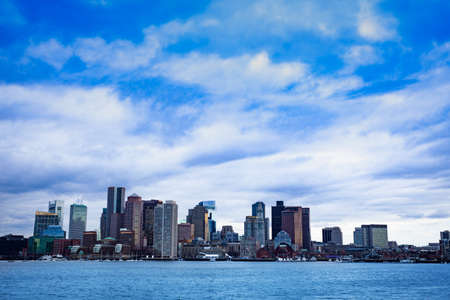 Boston city downtown view from East side of the inner harbor Massachusetts, USA Archivio Fotografico