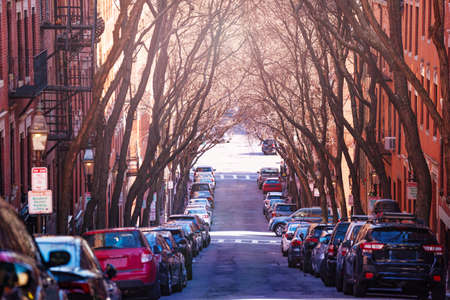 Parking on the street of Boston downtown with new England quartier, Massachusetts, USA