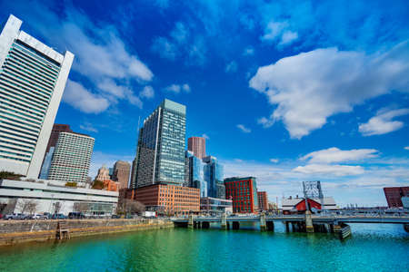 Panorama of Boston downtown Congress Street Bridge over fort point channel Massachusetts, USA Archivio Fotografico