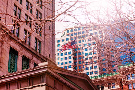 American flag on central street building in Boston downtown Massachusetts, USA Archivio Fotografico