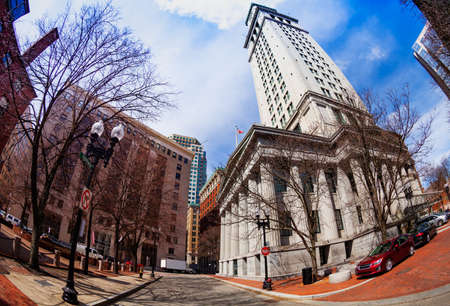 Central street buildings and Jenney Plaza in Boston downtown Massachusetts, USA Archivio Fotografico