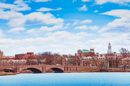 View of Boston University Bridge with Dunster House Cambridge panorama and Charles river Massachusetts, USA