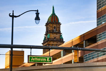 Jefferson avenue sign on the street of Detroit, Michigan USA