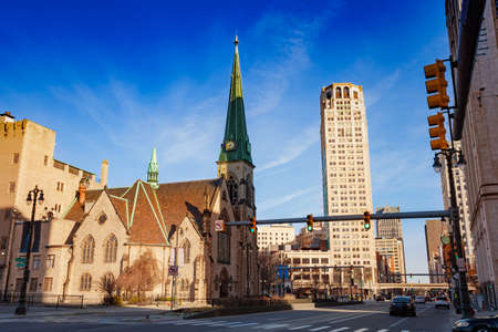 Saint Johns Episcopal Church on Woodward Avenue in Detroit, Michigan USA view towards downtown