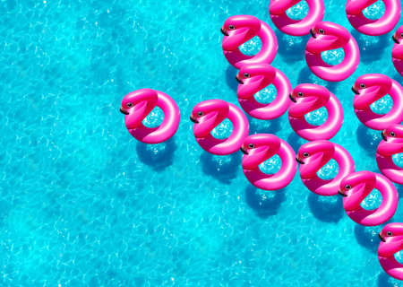 Large group of inflatable flamingo buoy swim in the swimming pool view from above
