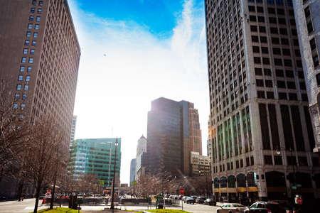 Cadillac Square Park on sunny day in Detroit, Michigan, USA Фото со стока
