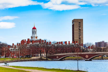 Boston University Bridge with Dunster House Cambridge panorama and Charles river Massachusetts, USA