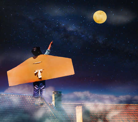Boy with cardboard wings on roof point to sky