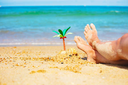 Miniature palm and girls legs in sand close-up