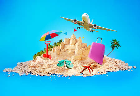 Summer vacations illustration island and a plane
