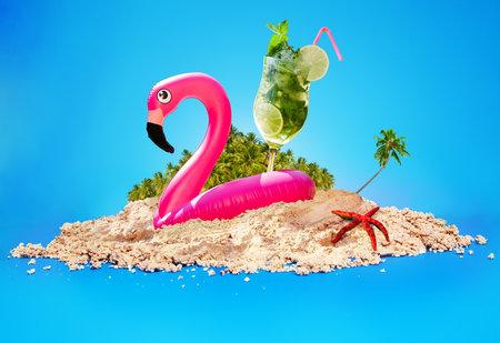 Summer beach relax illustration mojito, flamingo