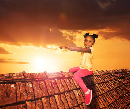 Girl sit on the roof in dream like illustration