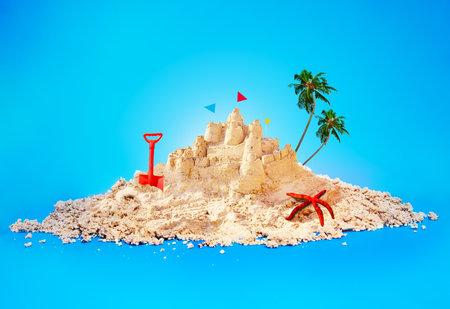 Summer vacation illustration island and sandcastle