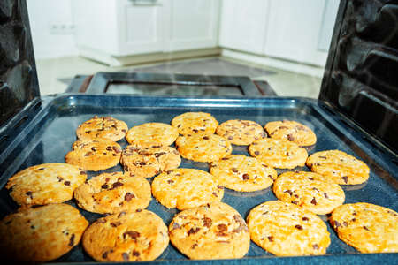 View from inside the oven on tray with cookies Zdjęcie Seryjne