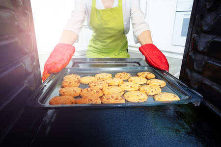 Tray with freshly baked cookies and woman hands