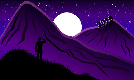 traveler: Next 2018 year. Traveler looks.Purple night Illustration
