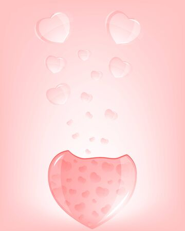 The eruption of hearts pink, glow, water, fly glass bubbles