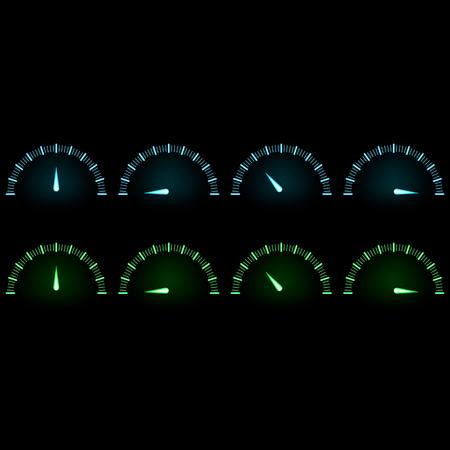 Sensor speed. Neon effect glow, blue green Illustration