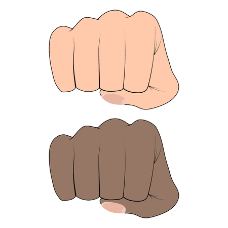Fist of an African and a white man on a white background. Martial arts Vettoriali