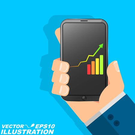 The man is holding the phone in his hand. A businessman and a successful person uses modern technology. Diagram with an arrow and a scale. Flat style Illustration