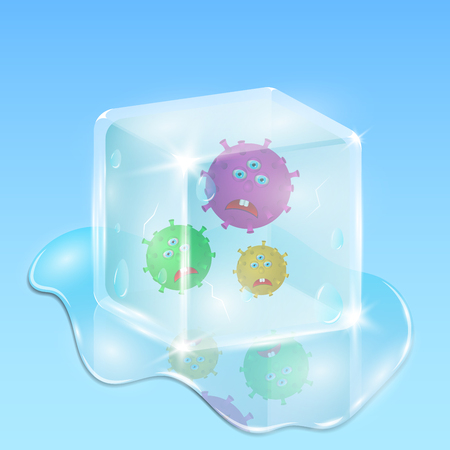 chill: Frozen in a cube of ice, evil and sad microbes. Water and drops everywhere. Illustration in cartoon 3d style. Bright and beautiful scientific scene Illustration