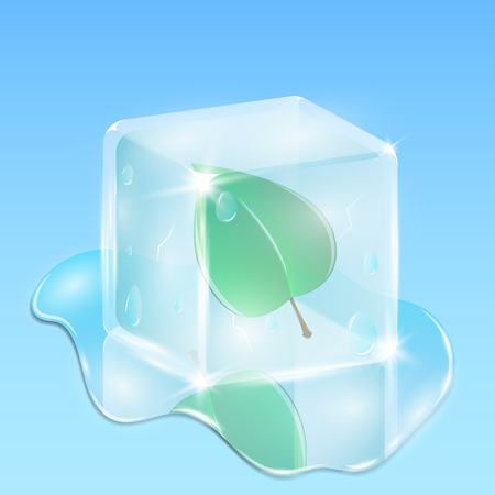 A fresh green leaf frozen in a cube of ice. Creative and rich illustration in 3d style. Winter composition